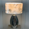 Ellipse Chrome Table Lamp with Carrara Grey Marble Shade