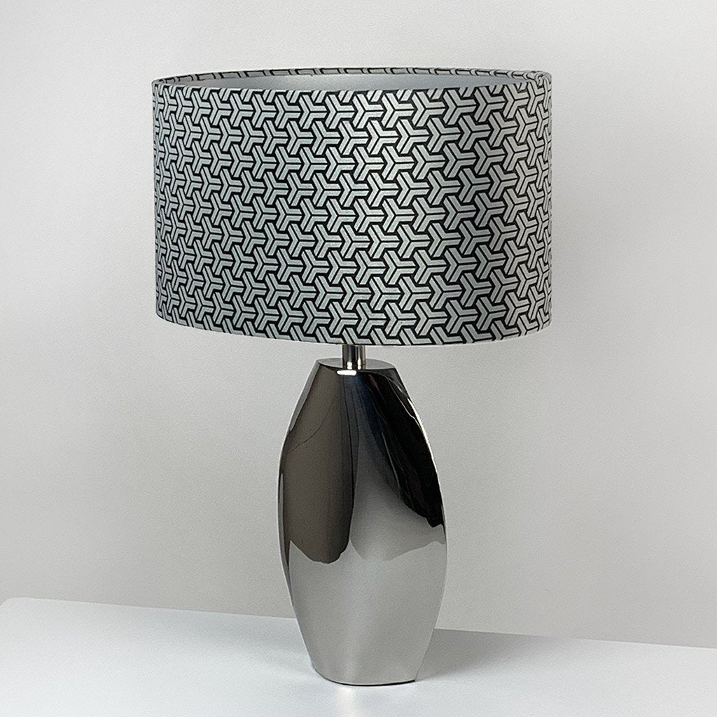 Ellipse Chrome Table Lamp Chrome with Platinum Tessellate Panaz Shade