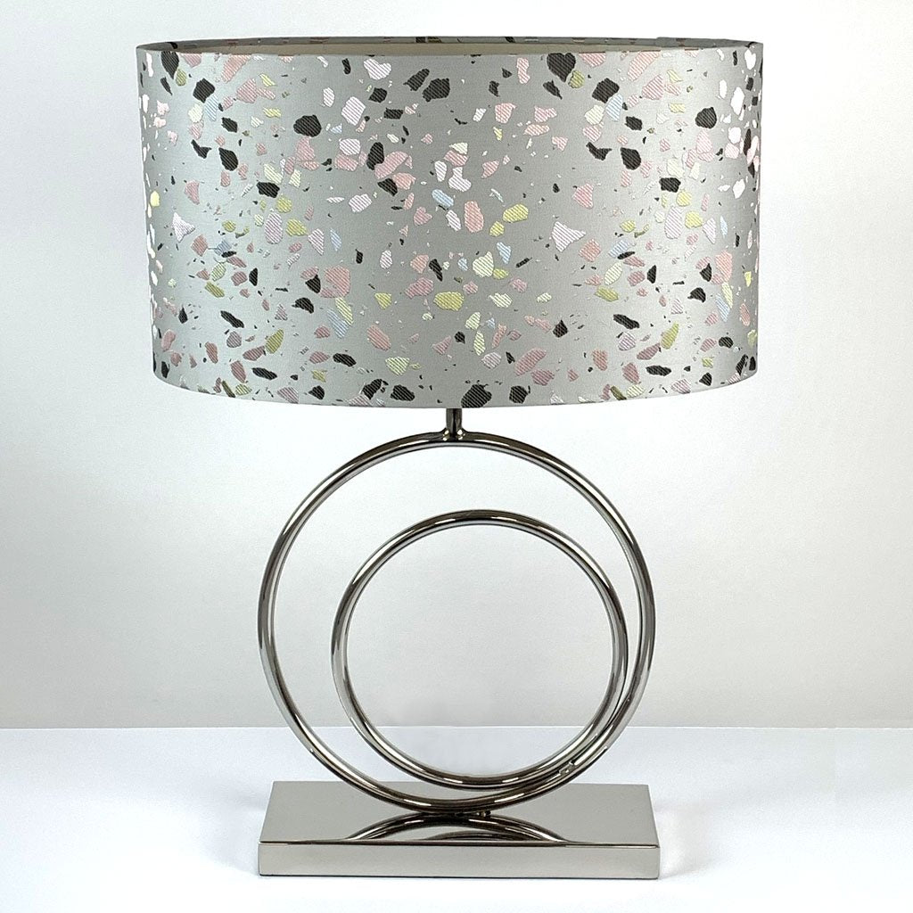 Helios Chrome Table Lamp with Terrazzo Pastel Shade