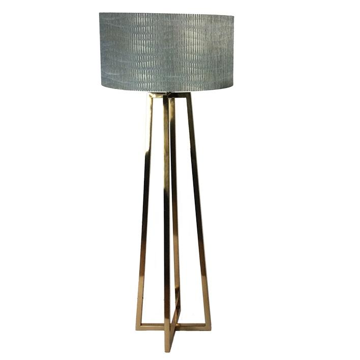 Madison Lacquered Brass Floor Lamp With Giotto Moonlight Shade
