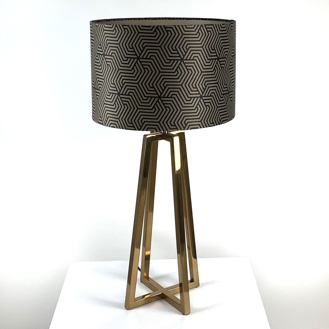 Madison Lacquered Brass Table Lamp With Allure Mocha Maze Shade