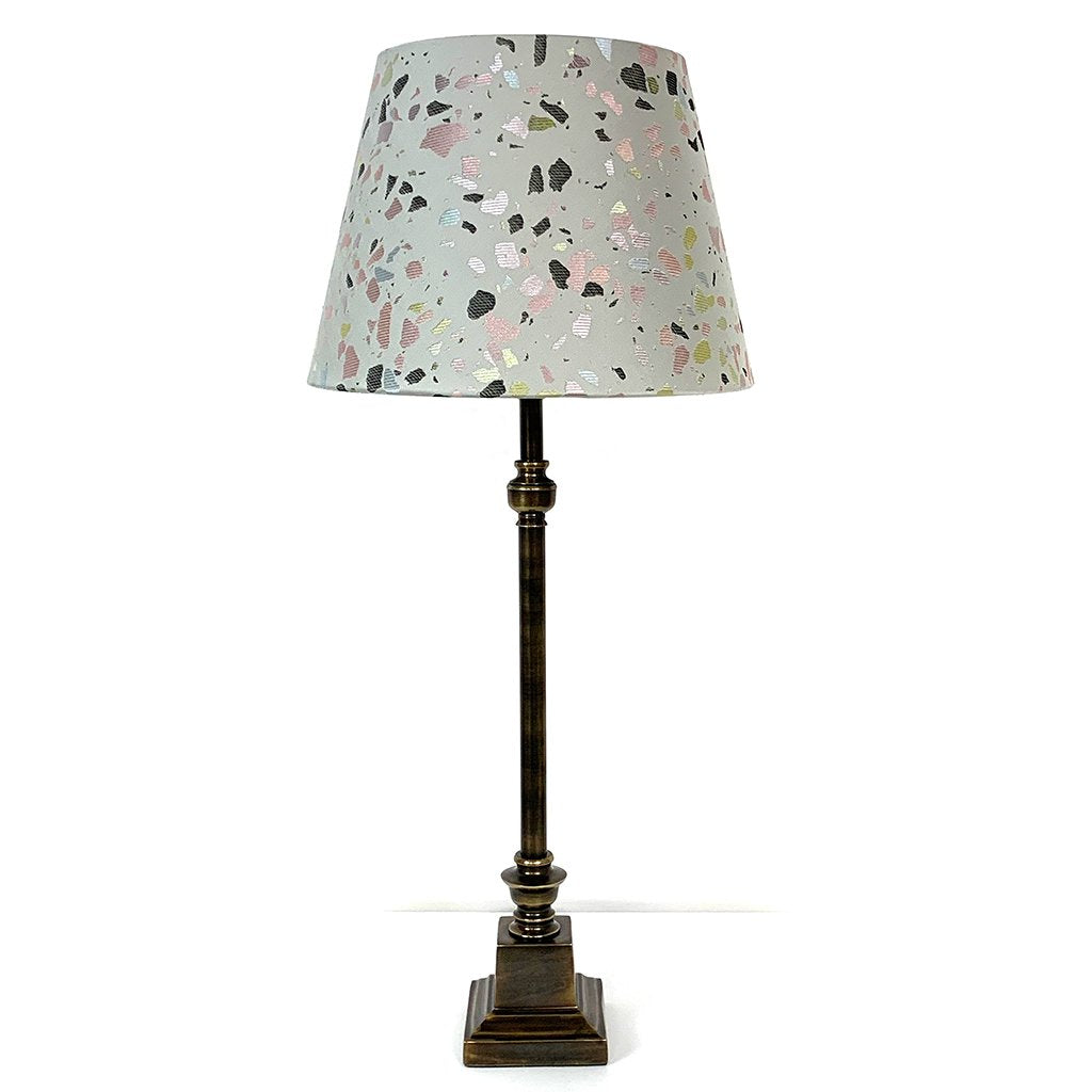 Empire Bronze Table Lamp With Terrazzo Pastel Shade
