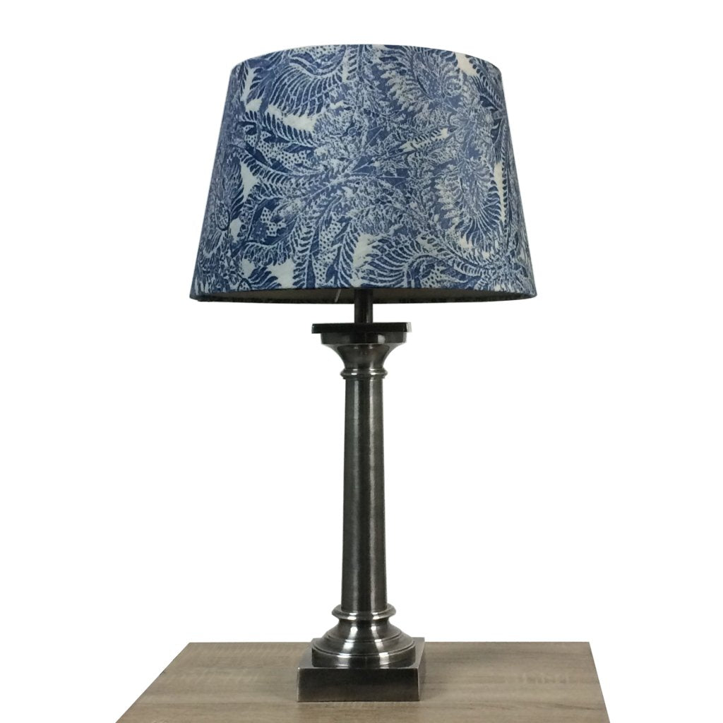 Doric Table Lamp Burnished Pewter with Pacha Shade