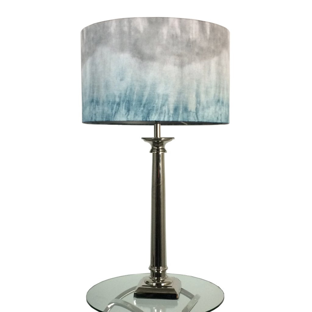 Tuscan Polished Nickel Table lamp with Teal Ombre Shade