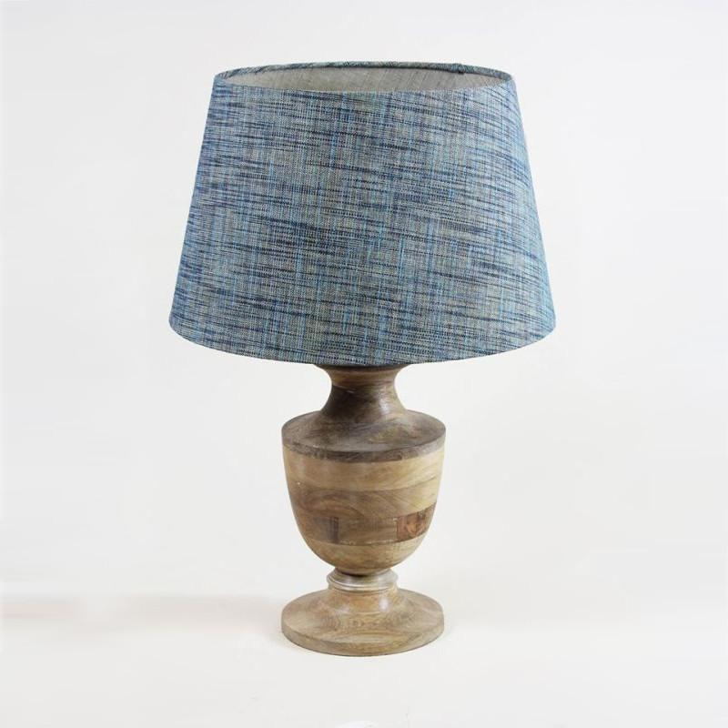 Amal Natural Wood Wooden Table Lamp with Weave Shade