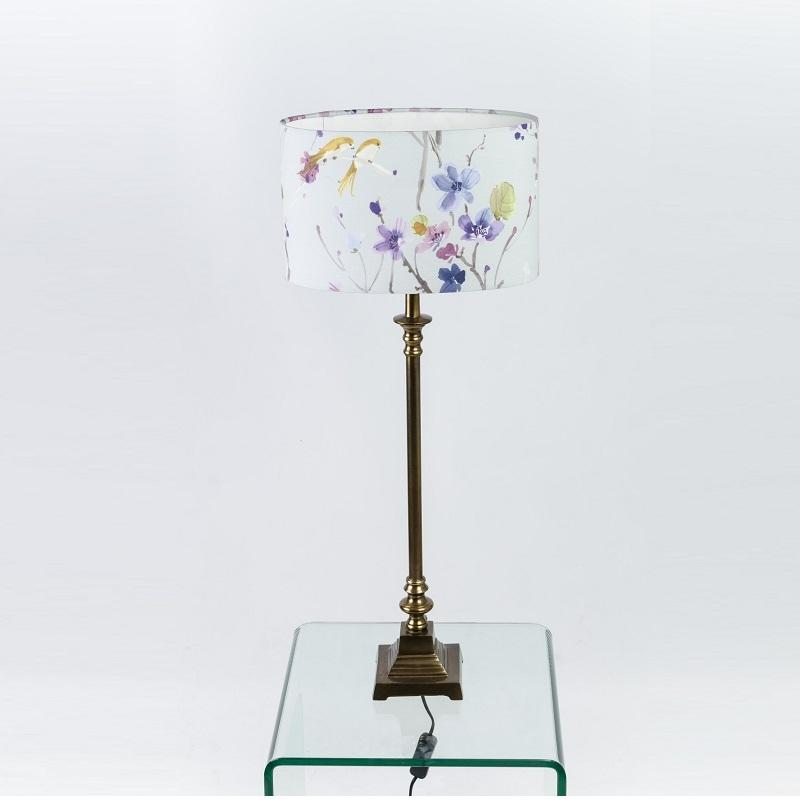 Regal Table Lamp Antiqued, Old Gold with Violet Duck Egg Shade