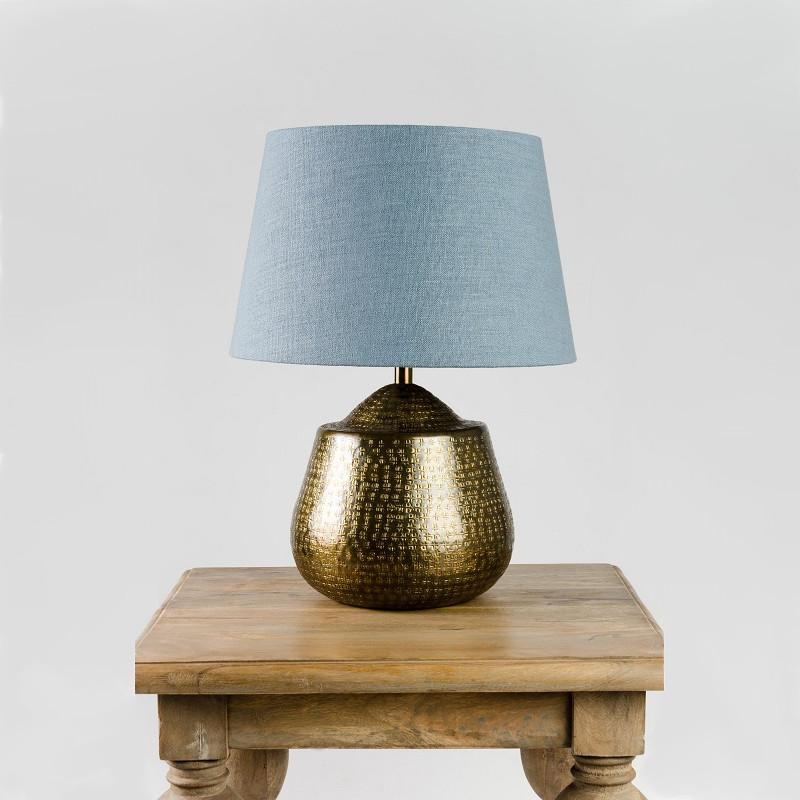 Tashkent Table Lamp Antique Brass with Saxon Shale Shade