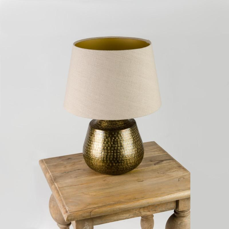 Tashkent Table Lamp Antique Brass with Saxon Stone Shade