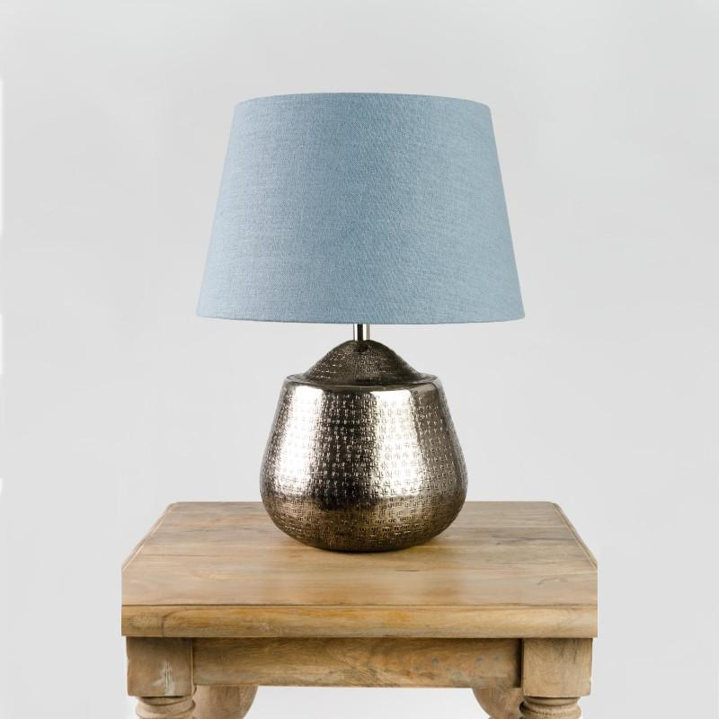 Tashkent Table Lamp Aged Pewter with Saxon Shale Shade