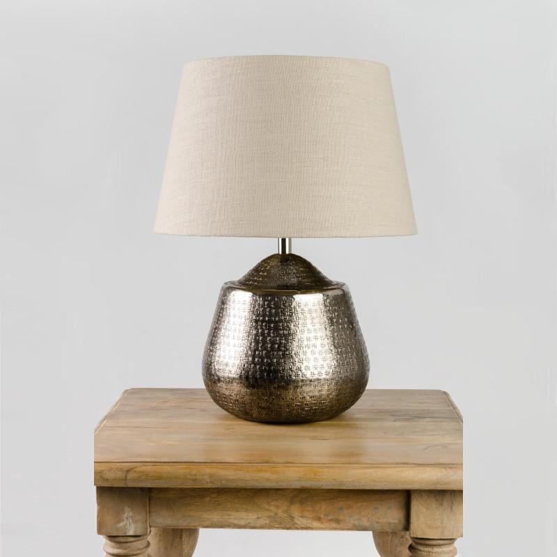 Tashkent Table Lamp Aged Pewter with Saxon Stone Shade