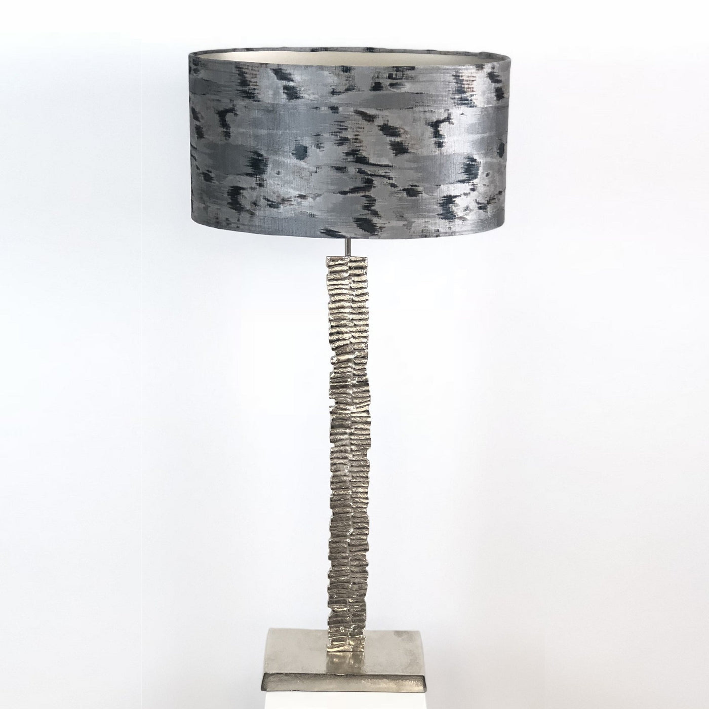 Paperbark Medium Table Lamp Luxuriant Silver with Atmosphere Solar Black Shade