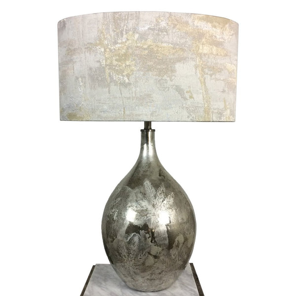 Libra Etched Leaf Silver Table Lamp
