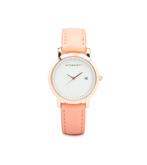Minimal Peach Rose Gold Watch