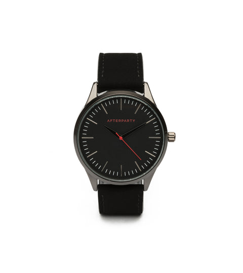 Urban Oversized Black Suede Watch