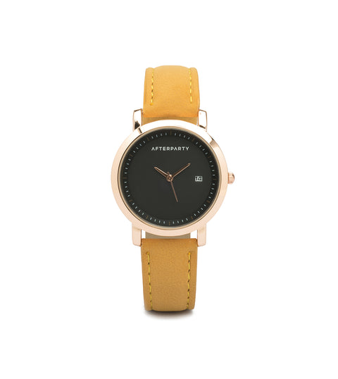 Minimal Rose Gold Mustard Yellow Watch