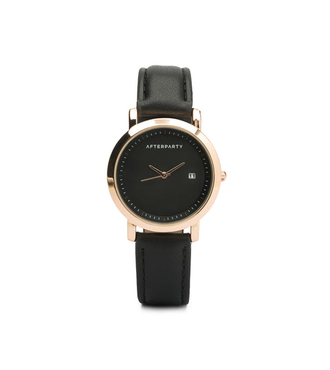 Minimal Black Rose Gold Watch