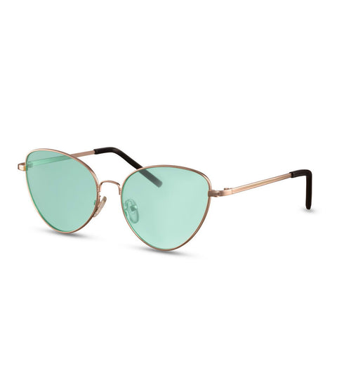 Simple Cat Eye Sunglasses With Green Lens