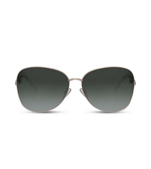 Oversized Aviator Sunglasses in Gold With Black Lens
