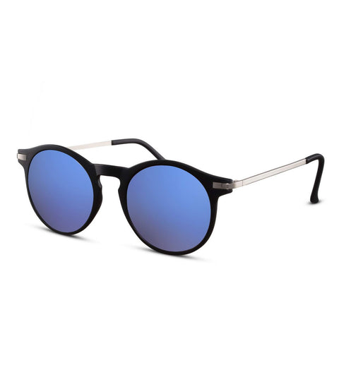 Round Sunglasses With Blue Flash Lens
