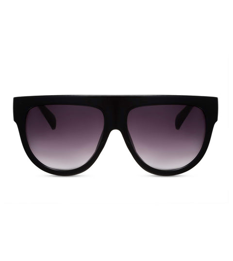 Flat Top Smoke Lens Sunglasses in Black