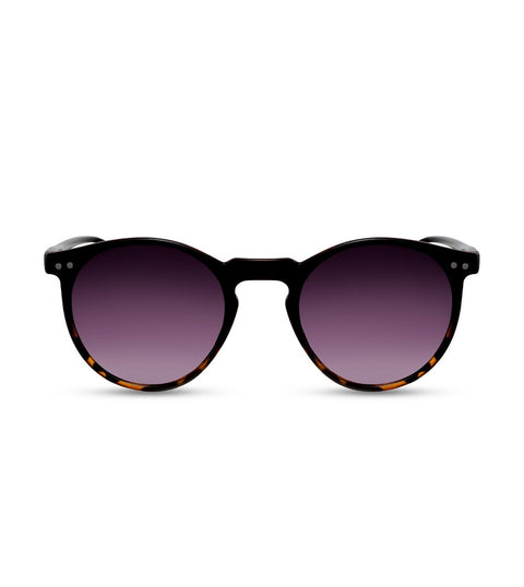 Round Sunglasses in Black Tortoiseshell Fade