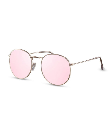 Round Pink Flash Lens Sunglasses