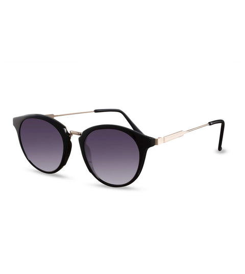 Round Sunglasses In Black With Smoke Lens