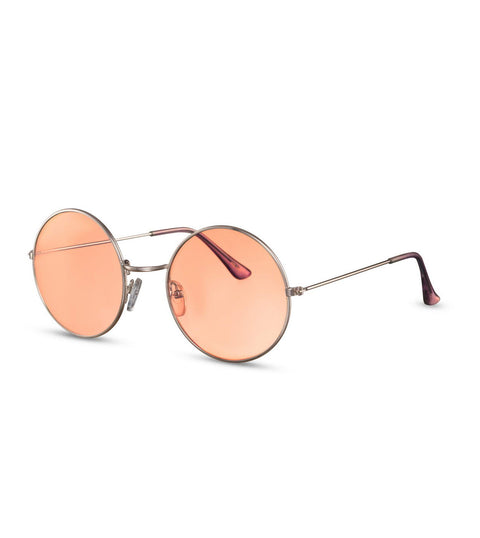 Retro Round Sunglasses With Peach Orange Lens