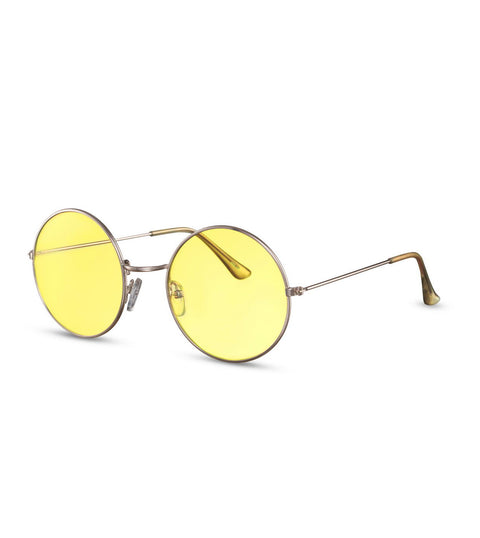 Retro Round Sunglasses With Yellow Lens