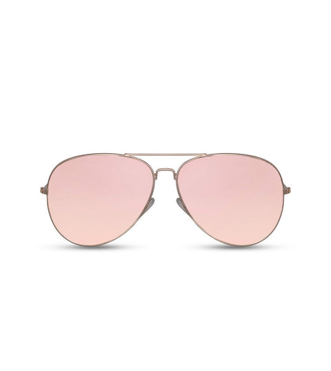 Classic Aviator Sunglasses With Pink Flash Lens