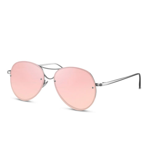 Mirror Flash Rimless Pink & Silver Sunglasses