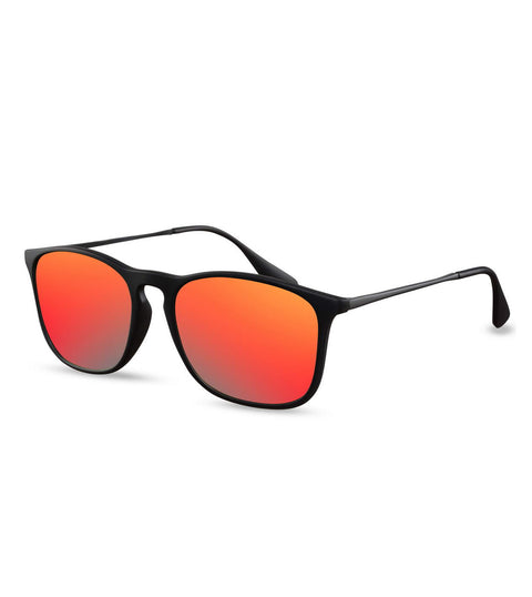 Red Lens Sunglasses in Matte Black