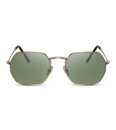 Hexagonal Sunglasses In Gold With Green Lens