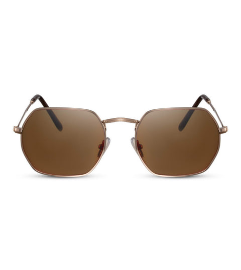 Hexagonal Sunglasses in Brown and Gold