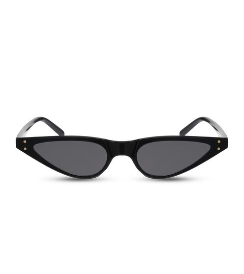 Small Pointy Sunglasses in Black With Smoke Lens