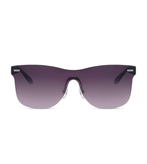 Rimless Smoke Sunglasses in Black