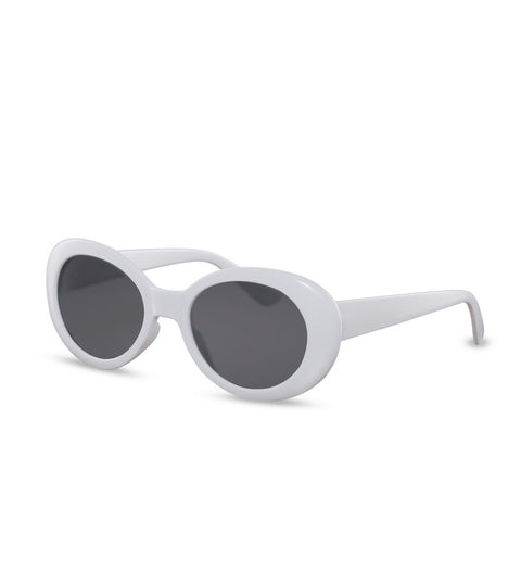 Retro Cat Eye White Sunglasses With Smoke Lens