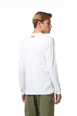 TARIK ABSTRACT LONG SLEEVE T-SHIRT white back