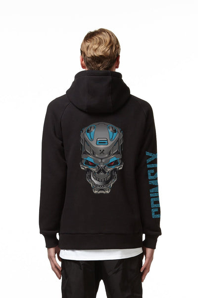 CRIMSIX BLACK SKULL HOODIE back black