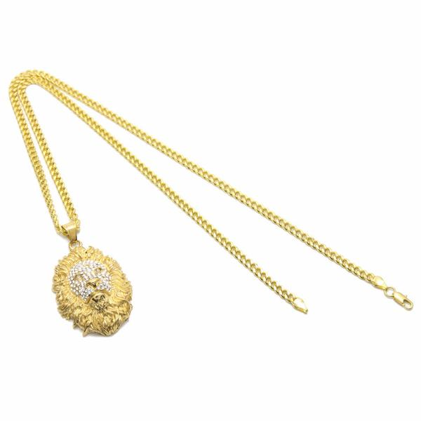 Gold Lion Face Micro Diamond Necklace