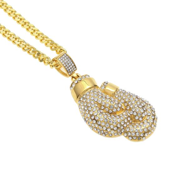 Gold Boxing Gloves Micro Diamond Necklace