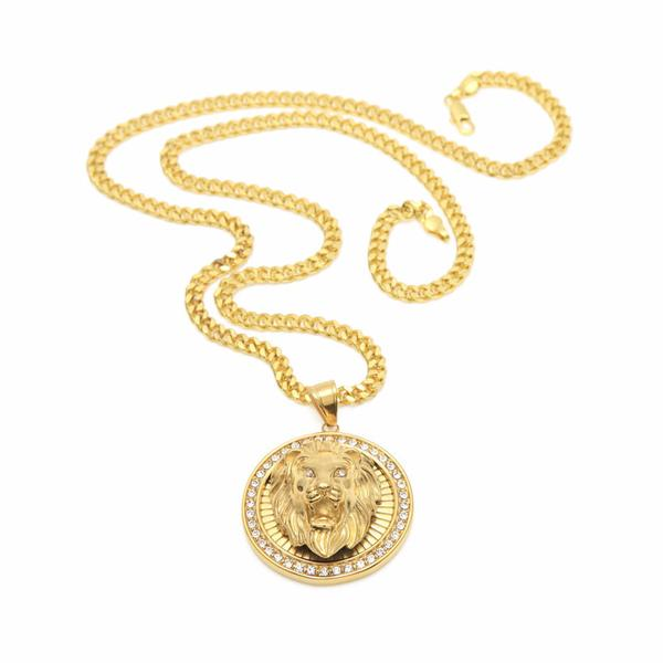 Gold Lion Head Micro Diamond Medallion Necklace