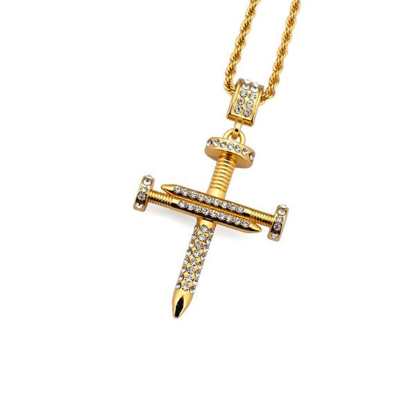 Gold Nail Cross Micro Diamond Necklace