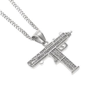 Uzi Submachine Micro Diamond Gun Necklace (Upsell)