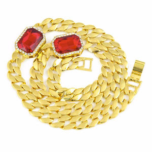 Cuban Link Double Micro Diamond Ruby Gem Chain