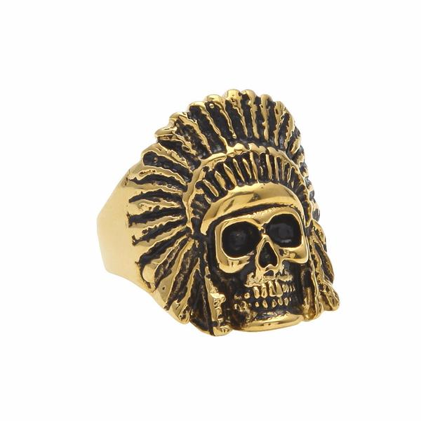 Gold Indian Chief Ring