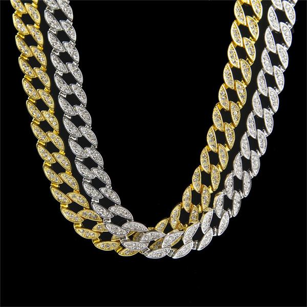 en hip hop plated out bling new gold real faux diamond iced chain chains