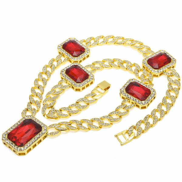Cuban Link Quintuple Ruby Gem Micro Diamond Chain