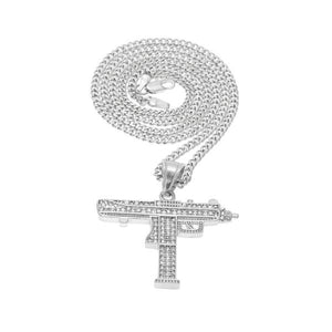 Uzi Submachine Micro Diamond Gun Necklace
