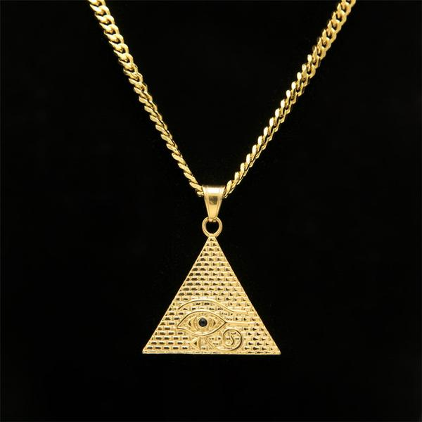 Gold Eye of Horus Pyramid Necklace